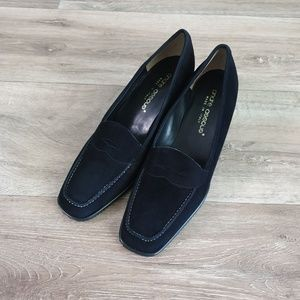 Andre Assous Slip On Wedge Loafers Black Suede 9 B